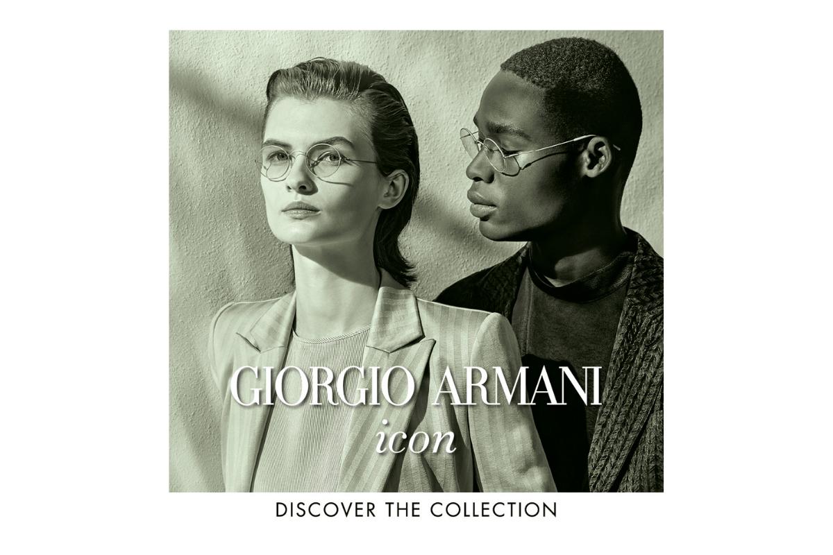 Giorgio Armani Brillen in zwei Gesichtern als schwarz weiß Foto.