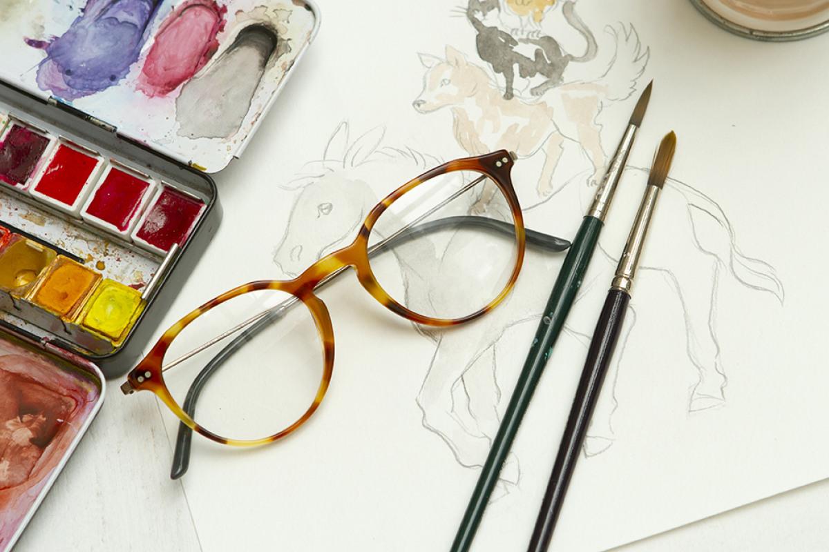 Giorgio Armani Brille auf Aquarell Zeichnen mit Pinsel und Tuschkasten