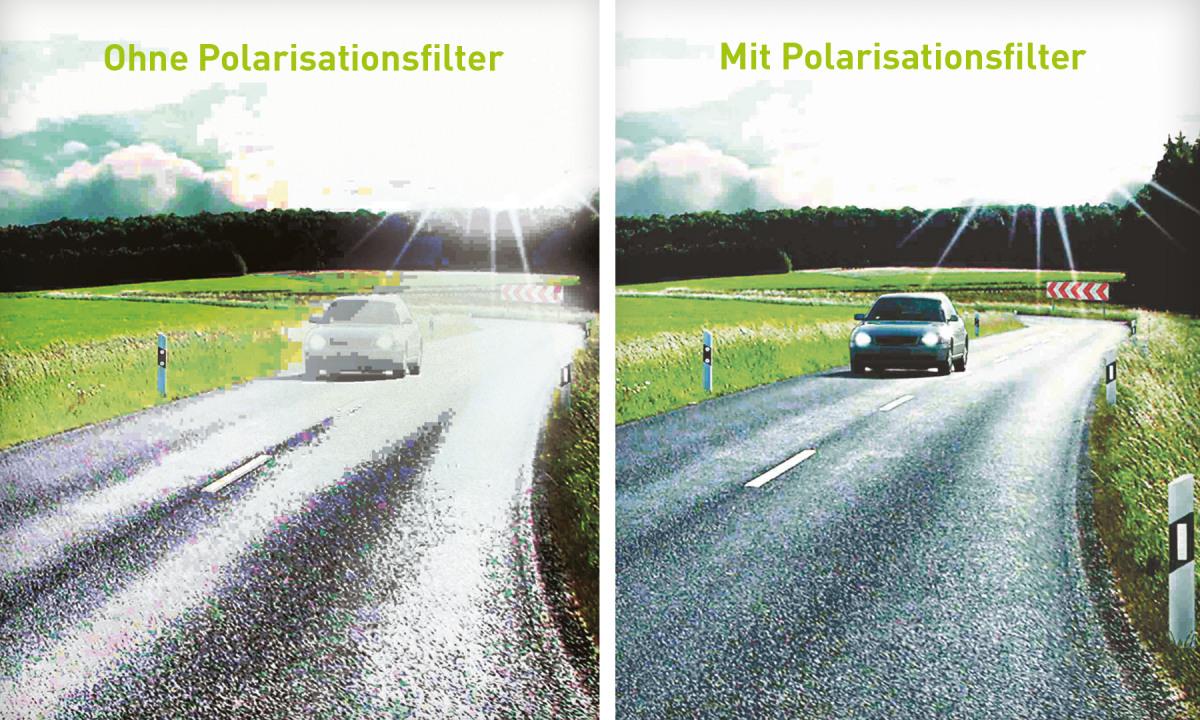 Bild 1: Auto im Gleißenden Licht auf Landstraße, Bild 2: Auto auf Landstraße