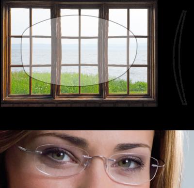 Grafik von Brillenglas und Brillendicke eines hochentwickelten Brillenglases.