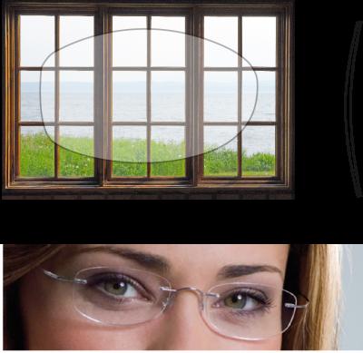 Grafik von Brillenglas und Brillendicke eines maßgefertigten Brillenglases.