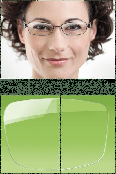 Brillenglas im Vergleich, mit Entspiegelung und ohne.