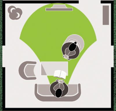 Grafik die die Sehentfernung am Arbeitsplatz von bis zu 4 m darstellt.